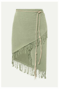 Caravana - Tuzuk Leather-trimmed Fringed Cotton-gauze Pareo - Sage green