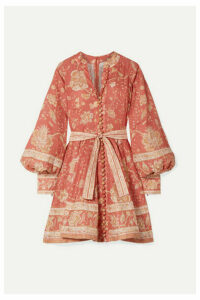 Zimmermann - Belted Printed Linen Mini Dress - Red