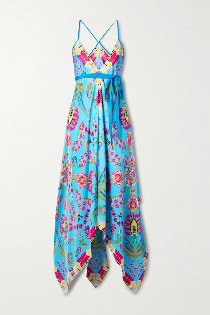 Three Graces London - + Zandra Rhodes Honore Printed Silk Crepe De Chine Midi Dress - Ecru