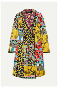 Etro - Embroidered Printed Silk-twill Coat - Yellow