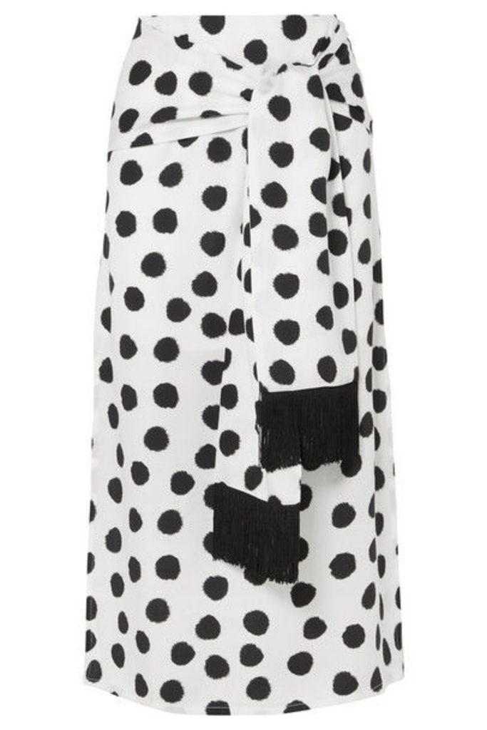 Mother of Pearl - Kate Fringed Tie-front Polka-dot Satin Midi Skirt - White