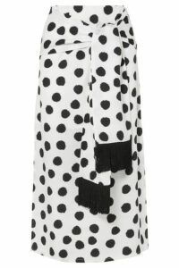 Mother of Pearl - Kate Fringed Tie-front Polka-dot Lyocell Midi Skirt - White