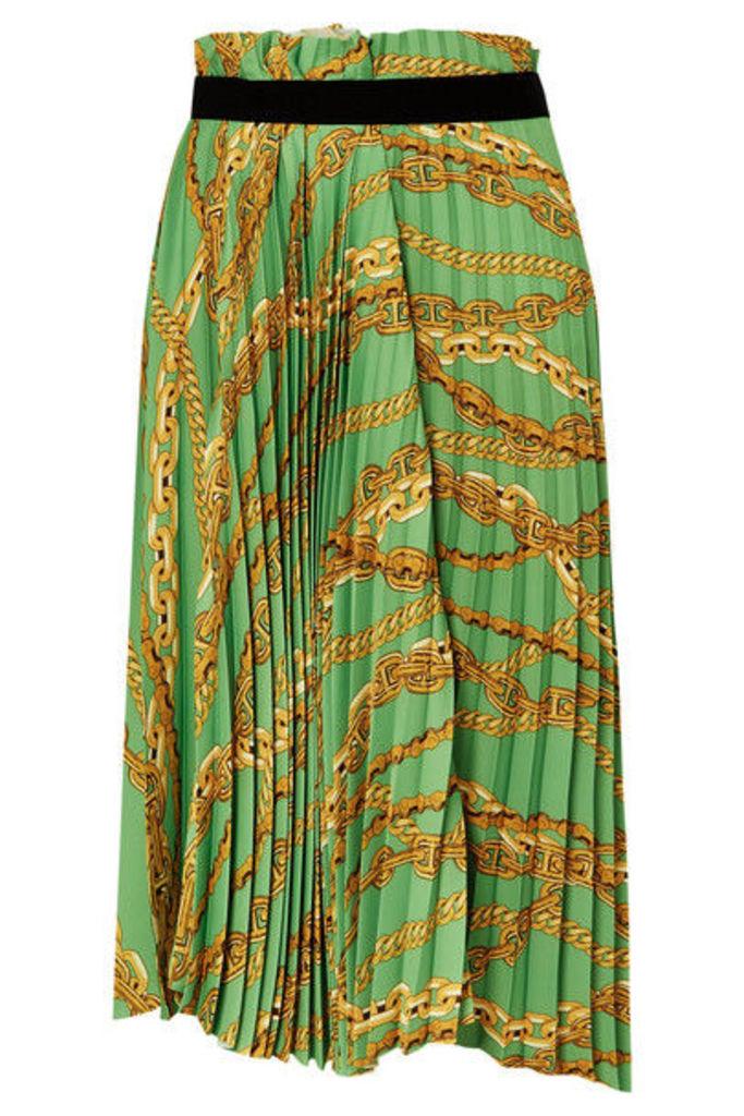 Balenciaga - Asymmetric Pleated Printed Crepe Midi Skirt - Green