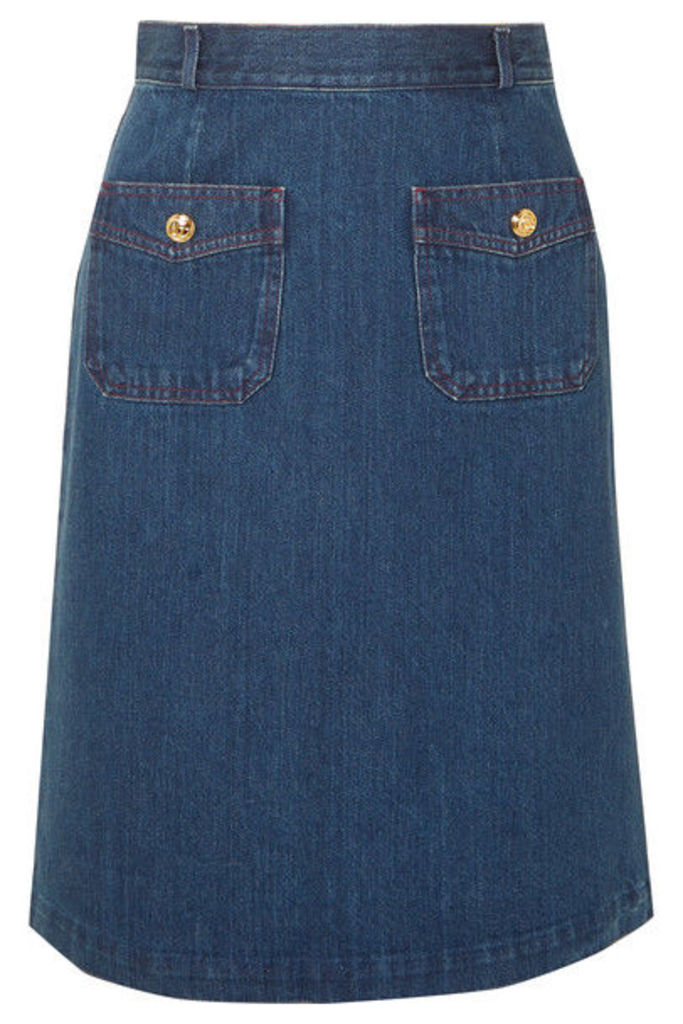 Gucci - Button-embellished Denim Skirt - Indigo