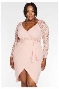 Quiz Curve Blush Pink Lace 3/4 Sleeve Midi Dress