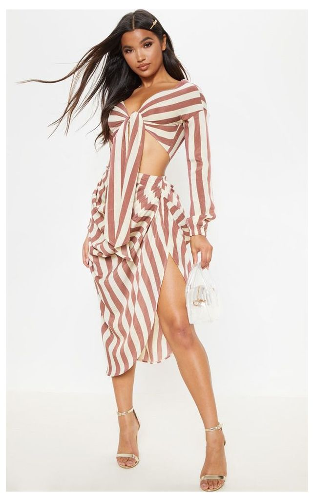 Tan Stripe Ruched Side Midi Skirt, Brown