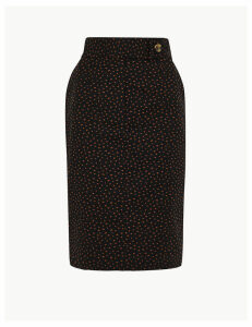 M&S Collection Cotton Rich Polka Dot Pencil Skirt