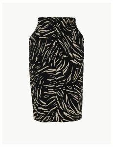 M&S Collection Cotton Rich Animal Print Pencil Skirt