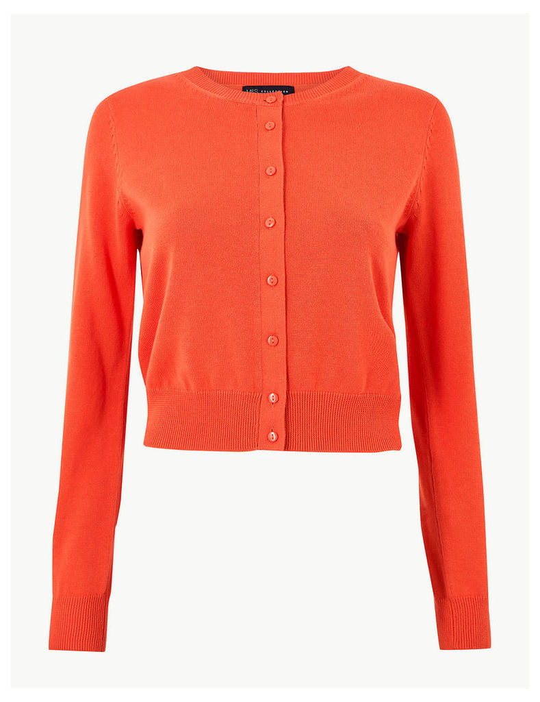 M&S Collection Pure Cotton Cropped Round Neck Cardigan