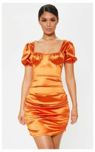 Rust Satin Cup Detail Ruched Bodycon Dress, Orange