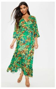 Green Leopard Print Kimono Sleeve Maxi Dress, Green