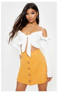 Mustard Button Front Linen Feel Mini Skirt, Mustard