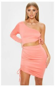 Coral One Shoulder Cut Out Ruched Bodycon Dress, Orange