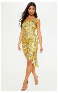Mustard Printed Satin Midi Dress, Mustard