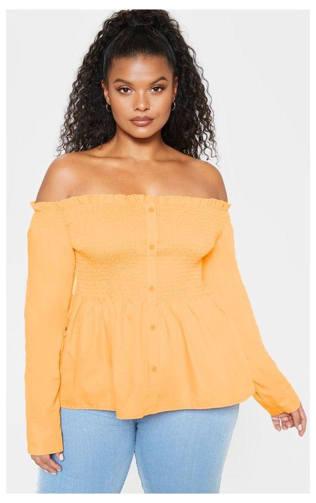 Plus Orange Bardot Shirred Button Front Top, Orange