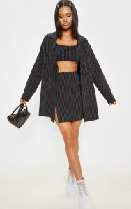 Black Pinstripe Oversized Woven Blazer, Black