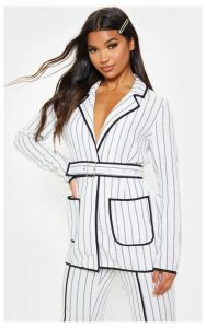 White Striped Linen Woven Blazer, White