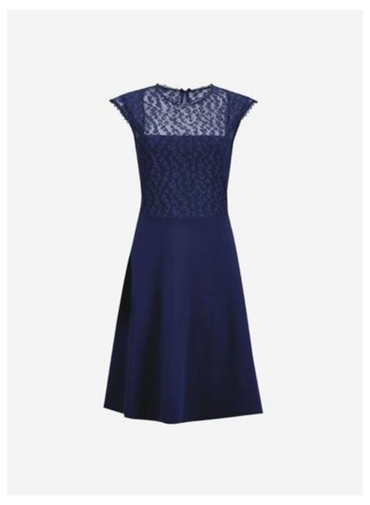 Womens Navy Lace 2-In-1 Dress- Blue, Blue