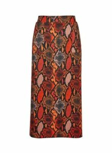 Womens **Tall Orange Snake Print Midi Skirt- Orange, Orange