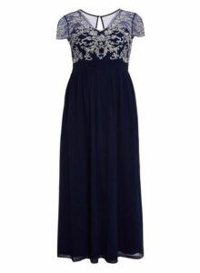Womens *Quiz Curve Navy Embellished Dress- Navy, Navy
