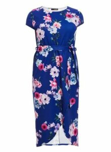 Womens *Quiz Curve Blue Floral Print Dress- Blue, Blue