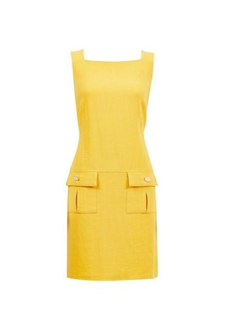 Womens Yellow Shift Dress- Yellow, Yellow