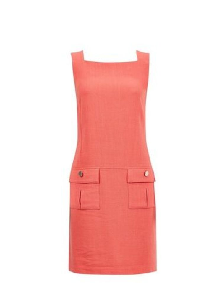 Womens Coral Shift Dress- Coral, Coral