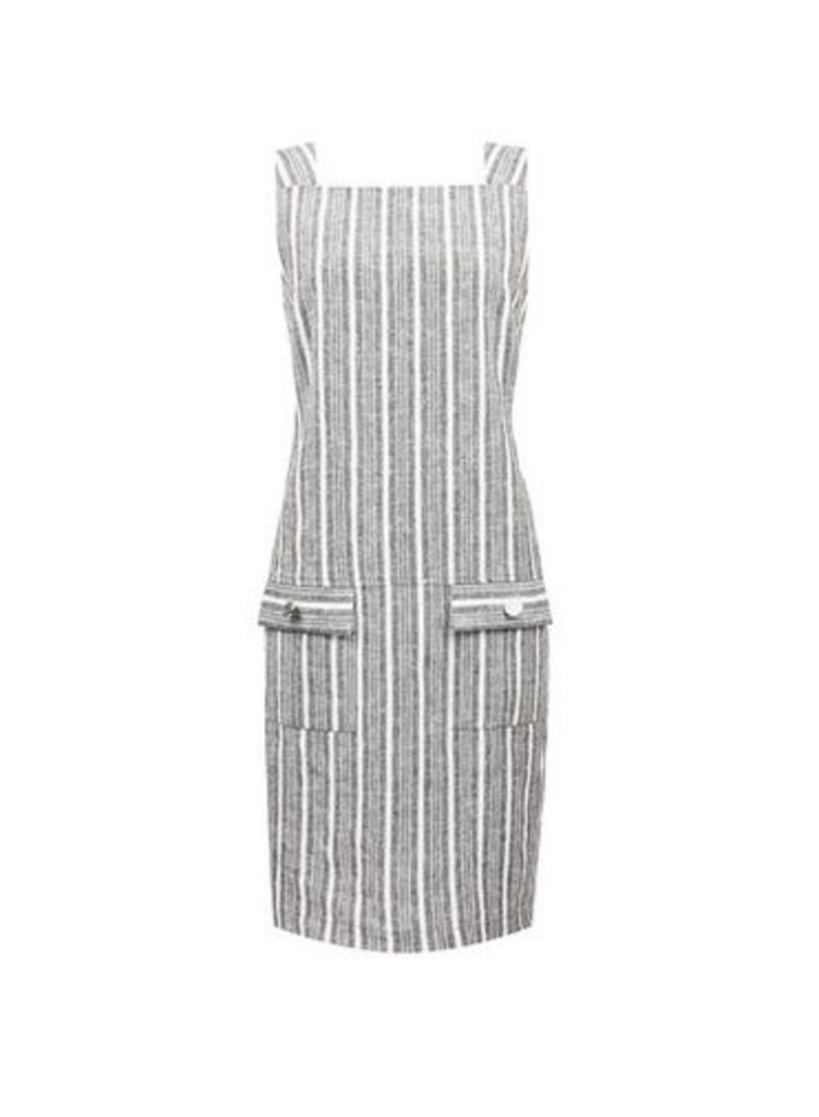 Womens Grey Stripe Print Shift Dress- Grey, Grey