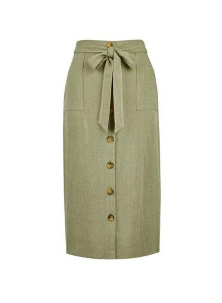 Womens Khaki Linen Mix Midi Skirt- Khaki, Khaki