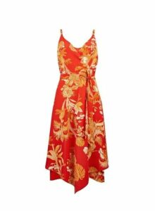 Womens Red Hanky Hem Strap Wrap Dress- Red, Red