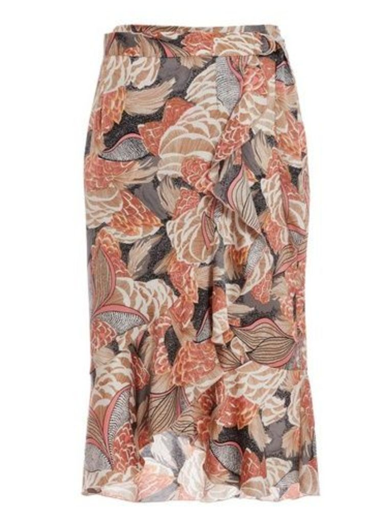Womens *Quiz Multi Colour Abstract Wrap Midi Skirt- Multi Colour, Multi Colour