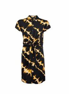 Womens Black Tie Dye Shirt Dress- Black, Black