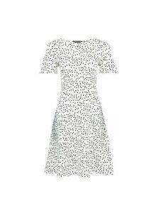 Womens White Spot Print Skater Dress- White, White