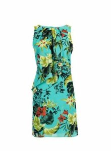 Womens **Billie & Blossom Petite Tropical Print Trapeze Dress- Blue, Blue