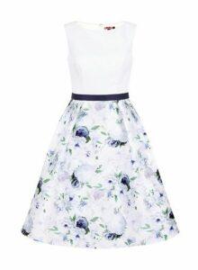 Womens *Chi Chi London Curve White Floral Print Midi Dress- White, White