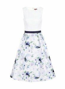 Womens *Chi Chi London White Floral Print Midi Dress- White, White