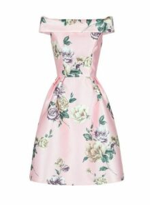 Womens *Chi Chi London Pink Floral Printed Bardot Midi Dress- Pink, Pink