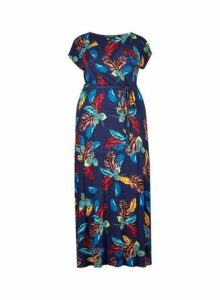 Womens **Dp Curve Blue Palm Print Wrap Maxi Dress- Blue, Blue