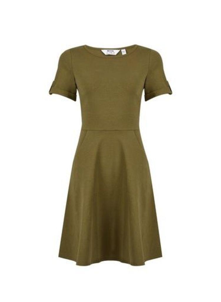 Womens Petite Khaki T-Shirt Dress- Khaki, Khaki
