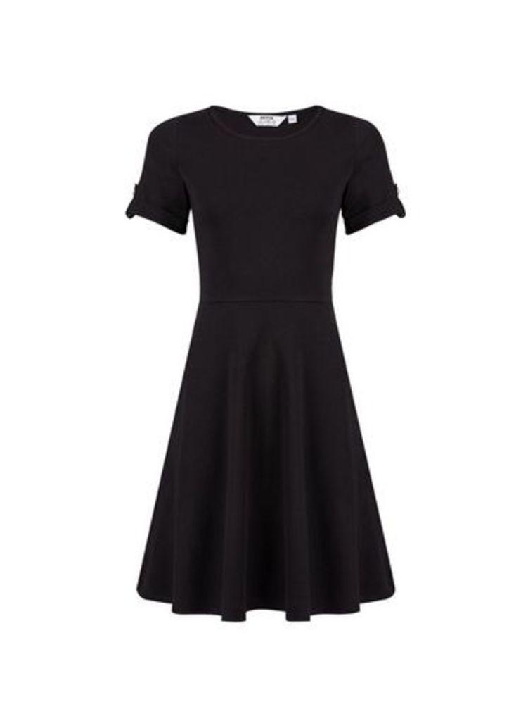 Womens Petite Black T-Shirt Dress- Black, Black