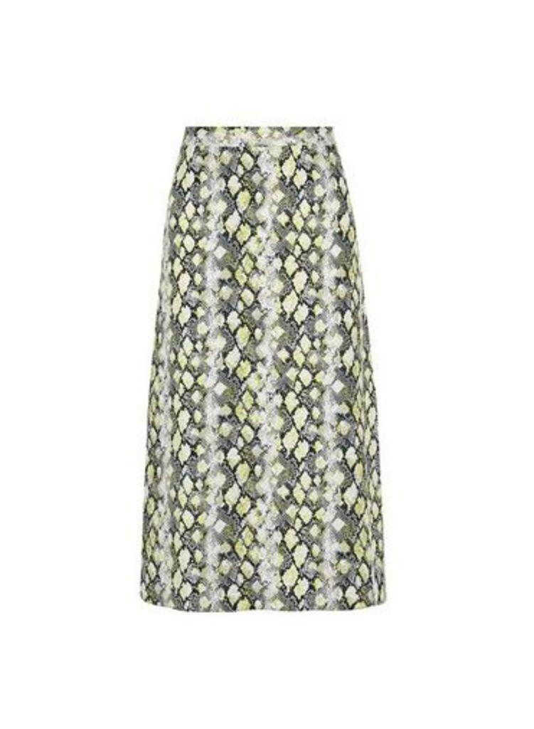 Womens Petite Lime Snake Print Midi Skirt- Green, Green