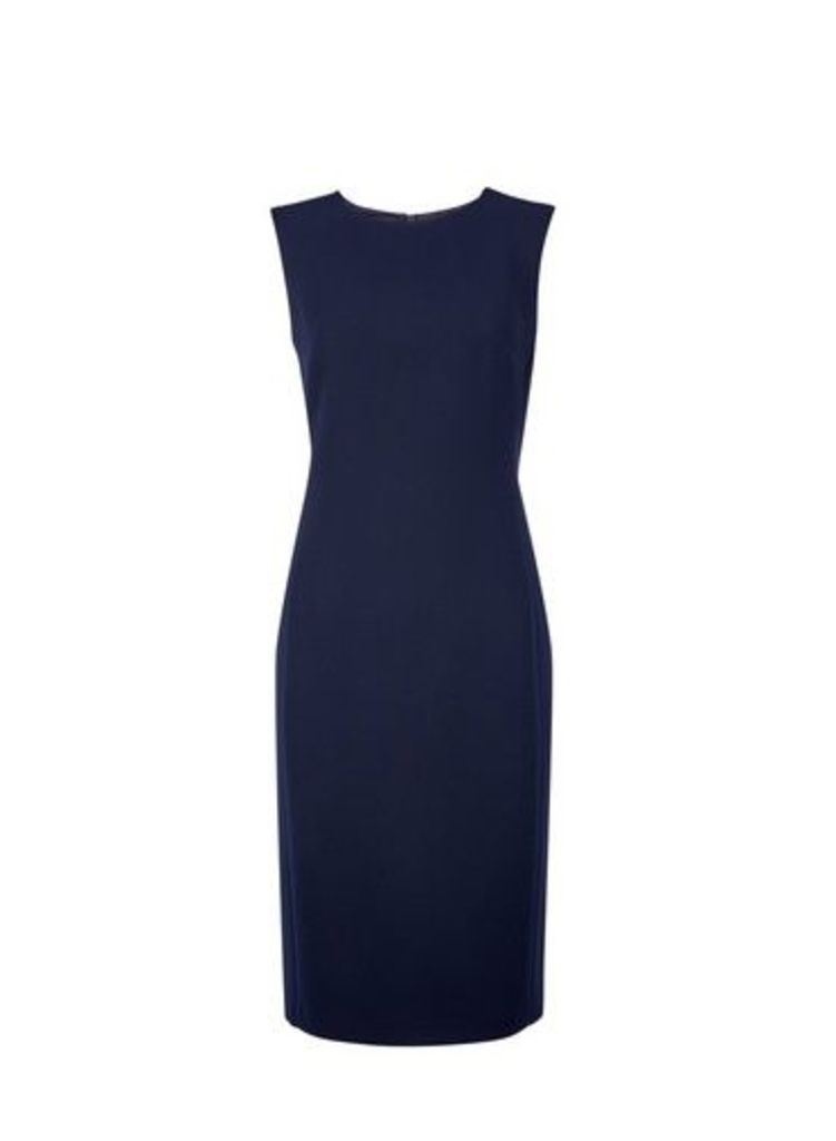 Womens Navy Round Neck Shift Dress- Blue, Blue