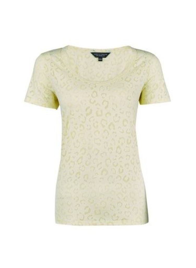 Womens Lemon Leopard Puff Print T-Shirt- Yellow, Yellow