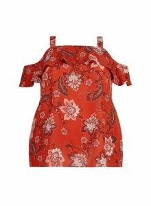 Womens **Dp Curve Red Floral Print Top- Red, Red