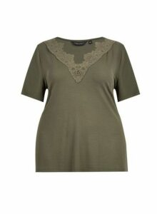 Womens **Dp Curve Khaki Lace V-Neck Top- Khaki, Khaki
