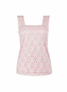 Womens Petite Blush Lace Square Neck Top- Pink, Pink
