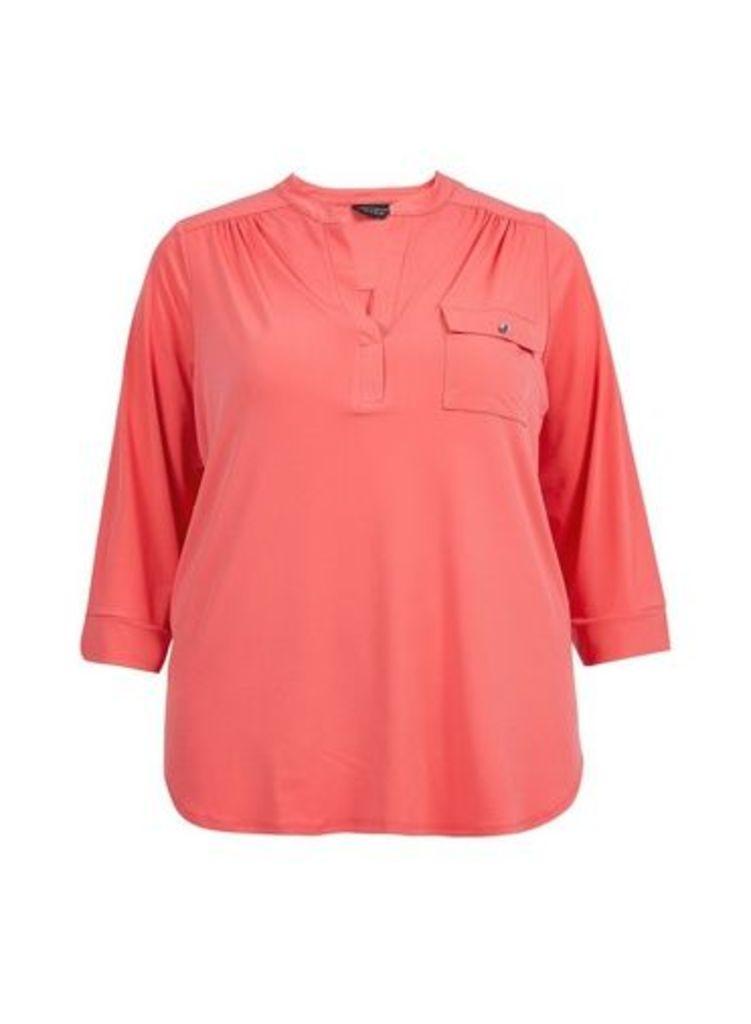 Womens **Dp Curve Red Interlock Twist Yarn Shirt- Red, Red