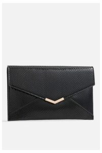 Womens **Faux Snakeskin Clutch Bag By Koko Couture - Black, Black