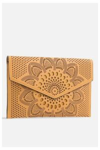 Womens **Laser Cut Envelope Bag By Koko Couture - Yellow, Yellow