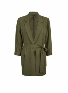 Womens Khaki Belted Jacket With Linen- Green, Green